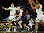 SIOUX FALLS, SD - MARCH 8: Filip Rebraca #12 of the North Dakota Fighting Hawks waits for the ball while being guarded by Dylan Carl #11 of the PFW Mastodons at the 2020 Summit League Basketball Championship in Sioux Falls, SD. (Photo by Richard Carlson/Inertia)