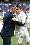 Real Madrid's Cristiano Ronaldo golden ball 2016 with Ronaldo Nazario during La Liga match. January 7,2016. (ALTERPHOTOS/Acero)