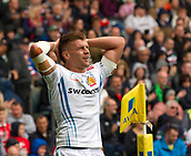30th September 2017, Welford Road, Leicester, England; Aviva Premiership rugby, Leicester Tigers versus Exeter Chiefs;  Exeter centre Henry Slade paused for breath in a frantic match