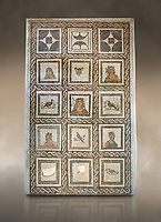 Picture of a Roman mosaics design depicting Dionysus, God of wine, surrounded by women's busts representing the Four Seasons, from the ancient Roman city of Thysdrus. 3rd century AD. El Djem Archaeological Museum, El Djem, Tunisia. Against an art background