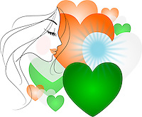 Vector - Side profile sketch of a beautiful woman with hearts of Indian flag colors in the background.<br />