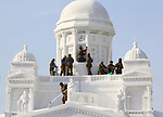 February 3, 2019, Sapporo, Japan - Members of Japan's Self Defense Force put final touches on a large snow sculpture of Helsinki Cathedral, displayed at the 70th annual Sapporo Snow Festival in Sapporo in Japan's nortern island of Hokkaido on Sunday, February 3, 2019. The week-long snow festival will open on February 4 through February 11 and over 2.5 million people are expecting to visit the festival.   (Photo by Yoshio Tsunoda/AFLO) LWX -ytd-