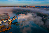 I arrived at the 360 Pennybacker Bridge one freezing cold December morning and the steam fog and clouds were rising off Lake Austin. I flew my drone high atop the bridge to capture this spectacular image of the iconic bridge, what a site to behold.