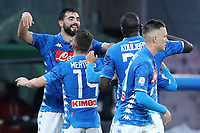 Raul Albiol of Napoli celebrates with team mates after scoring a goal during the Serie A 2018/2019 football match between SSC Napoli  and Spal at stadio San Paolo, Napoli, December 22, 2018 <br />  Foto Cesare Purini / Insidefoto