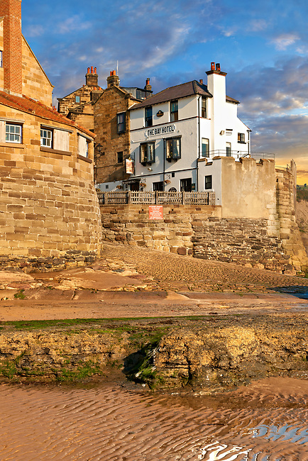 Bay Hotel Pub, village & beach of historic fishing village of Robin Hood's Bay, Near Whitby, North Yorkshire, England.