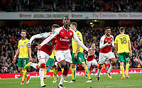 Eddie Nketiah of Arsenal turns to celebrate scoring his equalising goal 1-1 during the Carabao Cup match between Arsenal and Norwich City at the Emirates Stadium, London, England on 24 October 2017. Photo by Carlton Myrie.