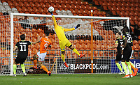 Macclesfield Town's Owen Evans tips an effort over the bar<br /> <br /> Photographer Kevin Barnes/CameraSport<br /> <br /> The Carabao Cup First Round - Blackpool v Macclesfield Town - Tuesday 13th August 2019 - Bloomfield Road - Blackpool<br />  <br /> World Copyright © 2019 CameraSport. All rights reserved. 43 Linden Ave. Countesthorpe. Leicester. England. LE8 5PG - Tel: +44 (0) 116 277 4147 - admin@camerasport.com - www.camerasport.com