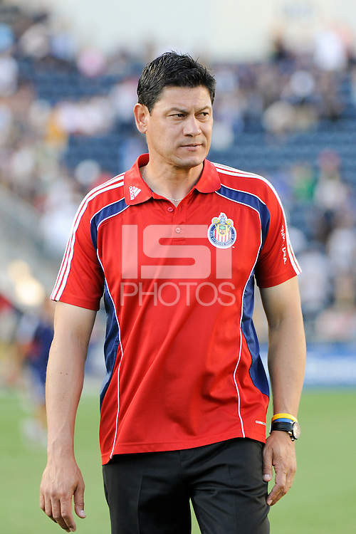CD Chivas USA head coach Martin Vasquez. The Philadelphia Union defeated CD Chivas USA 3-0 during a Major League Soccer (MLS) match at PPL Park in Chester, PA, on September 25, 2010.