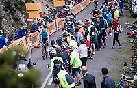 stage leader/eventual stage winner Jakob Fuglsang (DEN/Astana) coming up the Alto de La Cubilla<br /> <br /> Stage 16: Pravia to Alto de La Cubilla. Lena (144km)<br /> La Vuelta 2019<br /> <br /> ©kramon