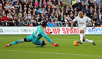 Andre Ayew of Swansea (R) gets past Petr Cech of Arsenal only for his shot to be saved by an Arsenal defender during the Barclays Premier League match between Swansea City and Arsenal at the Liberty Stadium, Swansea on October 31st 2015