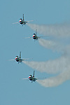 "The USAF Thunderbirds dazzle a huge crowd at the Jersey shore with their aerobatics at the 2011 Atlantic City Airshow ""Thunder over the Boardwalk."""