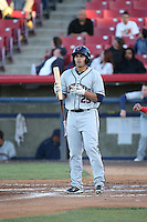 Bryan Muniz (25) of the Lancaster JetHawks bats against the High Desert Mavericks at Heritage Field on April 23, 2016 in Adelanto, California. High Desert defeated Lancaster, 10-9. (Larry Goren/Four Seam Images)
