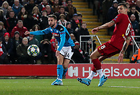 Napoli's Dries Mertens scores the opening goal <br /> <br /> Photographer Alex Dodd/CameraSport<br /> <br /> UEFA Champions League Group E - Liverpool v Napoli - Wednesday 27th November 2019 - Anfield - Liverpool<br />  <br /> World Copyright © 2018 CameraSport. All rights reserved. 43 Linden Ave. Countesthorpe. Leicester. England. LE8 5PG - Tel: +44 (0) 116 277 4147 - admin@camerasport.com - www.camerasport.com