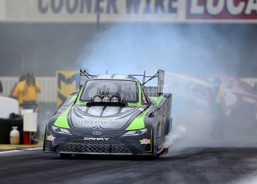 Feb 10, 2017; Pomona, CA, USA; NHRA funny car driver Alexis DeJoria during qualifying for the Winternationals at Auto Club Raceway at Pomona. Mandatory Credit: Mark J. Rebilas-USA TODAY Sports