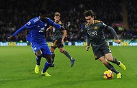 Leicester City's Ben Chilwell under pressure from Cardiff City's Bruno Ecuele Manga<br /> <br /> Photographer Kevin Barnes/CameraSport<br /> <br /> The Premier League -  Cardiff City v Leicester City - Saturday 3rd November 2018 - Cardiff City Stadium - Cardiff<br /> <br /> World Copyright © 2018 CameraSport. All rights reserved. 43 Linden Ave. Countesthorpe. Leicester. England. LE8 5PG - Tel: +44 (0) 116 277 4147 - admin@camerasport.com - www.camerasport.com