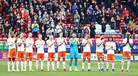 Blackpool players take part in a minute's applause in memory of Gordon Banks<br /> <br /> Photographer David Shipman/CameraSport<br /> <br /> The EFL Sky Bet League One - Charlton Athletic v Blackpool - Saturday 16th February 2019 - The Valley - London<br /> <br /> World Copyright © 2019 CameraSport. All rights reserved. 43 Linden Ave. Countesthorpe. Leicester. England. LE8 5PG - Tel: +44 (0) 116 277 4147 - admin@camerasport.com - www.camerasport.com