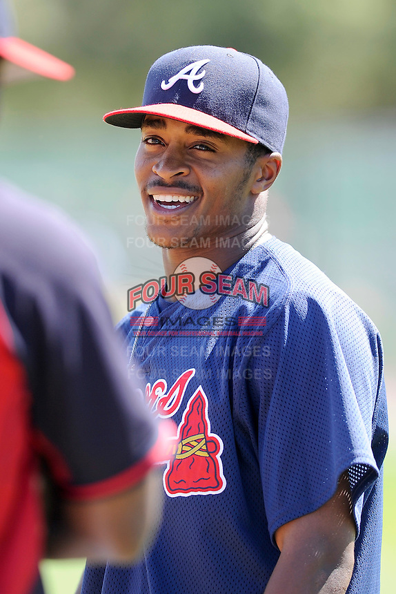 Outfielder Mallex Smith (59) of the Atlanta Braves farm system in a Minor League Spring Training workout on Monday, March 16, 2015, at the ESPN Wide World of Sports Complex in Lake Buena Vista, Florida. (Tom Priddy/Four Seam Images)