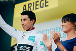 Egan Bernal (COL) Team Ineos retains the young riders White Jersey at the end of Stage 15 of the 2019 Tour de France running 185km from Limoux to Foix Prat d'Albis, France. 20th July 2019.<br /> Picture: ASO/Thomas Maheux | Cyclefile<br /> All photos usage must carry mandatory copyright credit (© Cyclefile | ASO/Thomas Maheux)