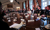 United States President Barack Obama meets with Combatant Commanders and Joint Chiefs of Staff in the Cabinet Room of the White House, in Washington, DC, April 5, 2016. <br /> Credit: Aude Guerrucci / Pool via CNP