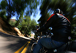 SAN DIEGO, CA - JULY 22:  Helmut Herb rides a  Harley Davidson RoadKing through Elfin Forest during the Harley Davidson Release test ride for Stern Magazine on July 22 in San Diego, California. (Photo by Donald Miralle) *** Local Caption *** Helmut Werb
