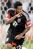 D.C. United forward Lionard Pajoy (16) celebrates his score. D.C. United defeated The Chicago Fire 4-2 at RFK Stadium, Wednesday August 22, 2012.