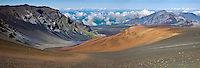 Panorama landscape of the crater in HALEAKALA NATIONAL PARK on Maui in Hawaii