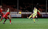Exeter City's Lloyd James shoots on goal during the Sky Bet League 2 match between Crawley Town and Exeter City at Broadfield Stadium, Crawley, England on 28 February 2017. Photo by Carlton Myrie / PRiME Media Images.