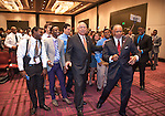 "Retired General Colin Powell takes part in a mass-selfie with students and staff during Hillsborough Community College's ""Black, Brown and College Bound"" event."