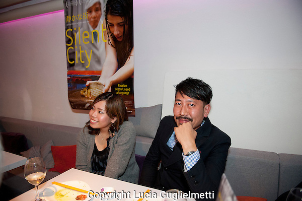 Utrecht, september 30, 2012.NFF Utrecht, .Diner Silent City crew.Ayako Kobayashi, Shinji Otani..Photo: Lucia Guglielmetti
