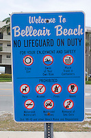 Lifeguard safety sign for Belleair Beach.  Belleair Beach Tampa Bay Area Florida USA