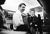 Columbia, South Carolina.USA.February 3, 2004..Senator John Edwards after winning the state of South Carolina flies to Memphis for a rally in the morning. He flies aboard his private jet and talks to the press befoer settling in.