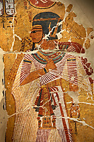 Egyptian painting on stucco of Pharaoh Amenhotep I. 11152-1145BC, Thebes. Neues  Museum, Berlin. Cat No AM2061