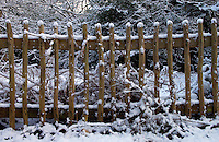 Snow Covered Wooden Fence, Hampstead Heath, London