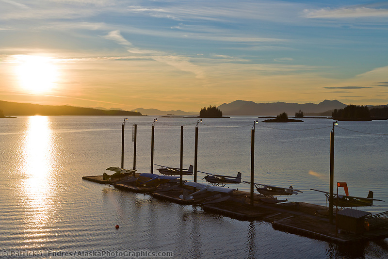 Float planes on a dock, Tongass Narrows, Ketchikan, Alaska.