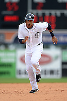 Detroit Tigers outfielder Steven Moya (30) during a spring training game against the Atlanta Braves on February 27, 2014 at Joker Marchant Stadium in Lakeland, Florida.  Detroit defeated Atlanta 5-2.  (Mike Janes/Four Seam Images)