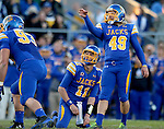 BROOKINGS, SD - OCTOBER 11:  Justin Syrovatka #49 from South Dakota State helps guide the ball through the uprights against Missouri State in the first half of their game Saturday evening at Coughlin Alumni Stadium in Brookings. (Photo/Dave Eggen/Inertia)
