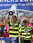Huddersfield's Michael Hefele celebrates promotion during the Championship Play-Off Final match at Wembley Stadium, London. Picture date: May 29th, 2017. Pic credit should read: David Klein/Sportimage