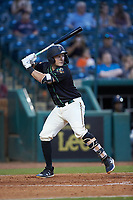 Grant Koch (34) Ocelotes de Greensboro at bat against the Hickory Crawdads at First National Bank Field on June 11, 2019 in Greensboro, North Carolina. The Crawdads defeated the Ocelotes 2-1. (Brian Westerholt/Four Seam Images)