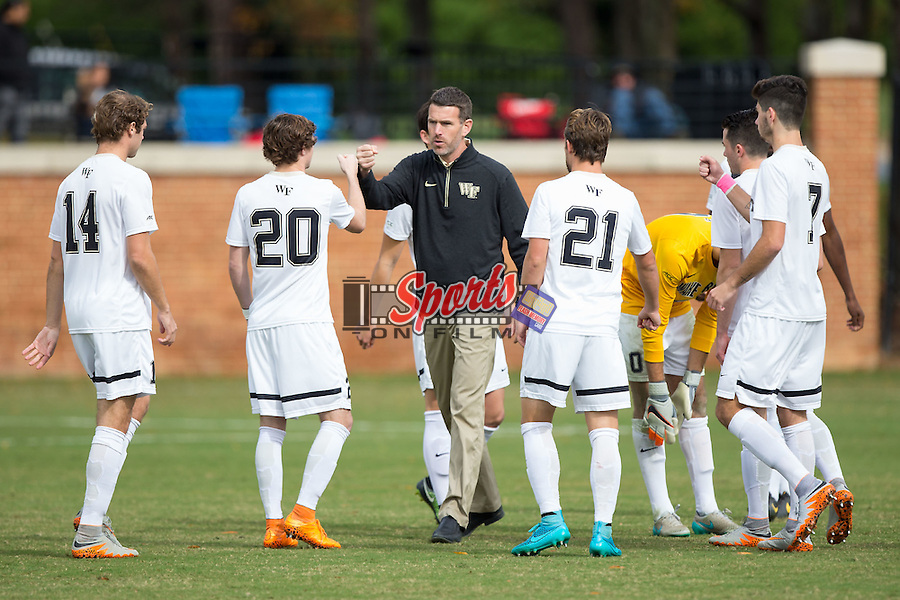 in the quarterfinal round of the 2015 ACC Men's Soccer Championship at Spry Soccer Stadium on November 8, 2015 in Winston-Salem, North Carolina.  The Demon Deacons defeated the Cardinals 2-1 in overtime..  (Brian Westerholt/Sports On Film)