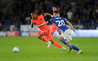 Huddersfield Town's Rajiv van La Parra gets away from Cardiff City's Gavin Whyte<br /> <br /> Photographer Ian Cook/CameraSport<br /> <br /> The EFL Sky Bet Championship - Cardiff City v Huddersfield Town - Wednesday August 21st 2019 - Cardiff City Stadium - Cardiff<br /> <br /> World Copyright © 2019 CameraSport. All rights reserved. 43 Linden Ave. Countesthorpe. Leicester. England. LE8 5PG - Tel: +44 (0) 116 277 4147 - admin@camerasport.com - www.camerasport.com