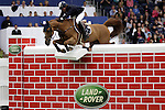 August 08, 2009: Cameron Hanley (IRL) aboard Southwind Vdl knock the wall and are eliminated. Land Rover International Puissance. Failte Ireland Horse Show. The RDS, Dublin, Ireland.
