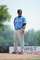Akron RubberDucks pitcher Enosil Tejeda (26) during game against the Trenton Thunder at ARM & HAMMER Park on July 14, 2014 in Trenton, NJ.  Akron defeated Trenton 5-2.  (Tomasso DeRosa/Four Seam Images)