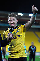 Hurricanes centurion Beauden Barrett thanks fans after during the Super Rugby match between the Hurricanes and Crusaders at Westpac Stadium in Wellington, New Zealand on Saturday, 10 March 2018. Photo: Dave Lintott / lintottphoto.co.nz