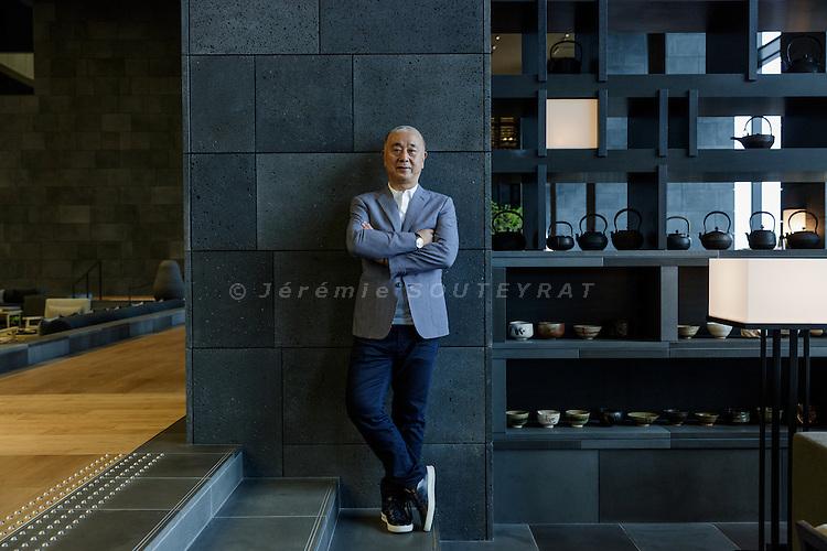 Tokyo, Japan, September 20 2016 - Portrait of  Japanese chef and restaurateur Nobu MATSUHISA at Aman Hotel Tokyo.