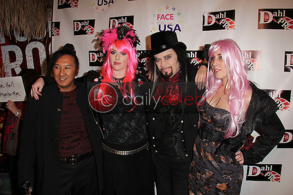 Johnnie Saiko, Constance Hall, Cleeve Hall, Alora Hall<br /> at the Monster Man Costume Ball, Cabo Wabo, Hollywood, CA 10-16-13<br /> David Edwards/Dailyceleb.com 818-249-4998