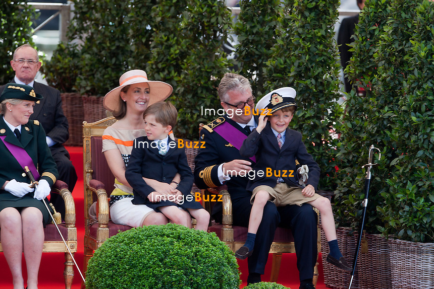 Princess Astrid of Belgium, Princess Claire of Belgium, Prince Laurent of Belgium and their twin sons Prince Nicolas and Prince Aymeric pictured during a military parade on the occasion of today's Belgian National Day, Saturday 21 July 2012 in Brussels.
