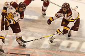 Alex Iafallo (UMD - 14), Willie Raskob (UMD - 15) - The University of Minnesota Duluth Bulldogs defeated the Harvard University Crimson 2-1 in their Frozen Four semi-final on April 6, 2017, at the United Center in Chicago, Illinois.