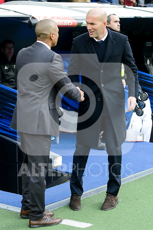 Real Madrid's coach Zinedine Zidane and Malaga CF's coach Marcelo Romero during La Liga match between Real Madrid and Malaga CF at Santiago Bernabeu Stadium in Madrid, Spain. January 21, 2017. (ALTERPHOTOS/BorjaB.Hojas)