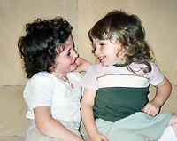 Pictured: Handout picture of Rebecca Aylward (L) aged five and a half with her three year old sister Jessica (R) aged 3.<br />