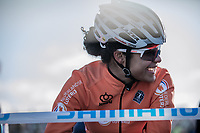 Ceylin Del Carmen Alvarado (NED) pre race. <br /> <br /> Women U23 race.<br /> <br /> UCI 2019 Cyclocross World Championships<br /> Bogense / Denmark<br /> <br /> <br /> &copy;kramon